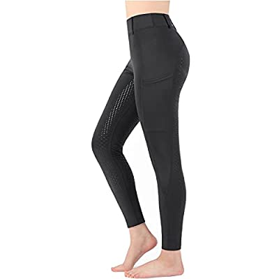 Women Riding Tights Pockets,Women Training Breeches Pants with Silicone Grip(Black,S) from