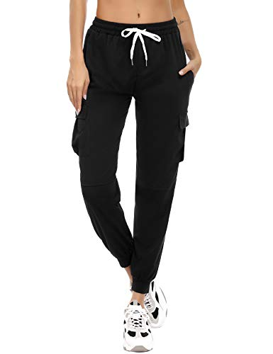 Akalnny Pantalones Deportivo Mujer Largos Algodón Pantalón de Chandal Mujer de Deporte Yoga Casual Pantalón de Punto con Bolsillos