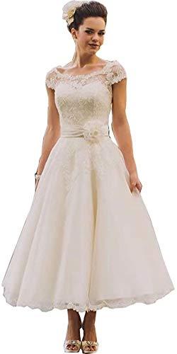 LYDIAGS Vintage-Brautkleid aus Spitze, Übergröße, rustikal, mit Flügelärmeln, weiß, 50