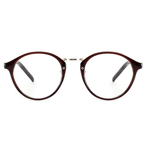 Cyxus Filtro de luz Azul Moda Retro Redondo Marco [Mejor Dormir] Unisexo Adulto Gafas de computadora, Bloqueo UV Anti Fatiga de Ojos (té marrón)