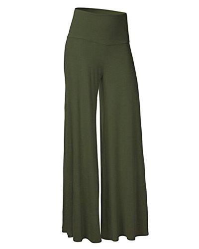 Mujeres Pantalones Anchos Pierna Baggy Largos Palazzo Pantalón Elástica Cintura Alta Suave para Yoga Casual Verde del ejército M