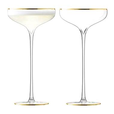 LSA International Celebrate Champagne Saucer (2 Pack), 8.5 fl. oz, Gold
