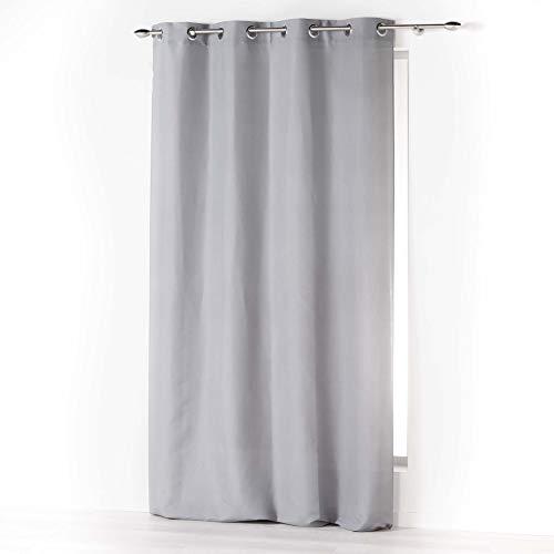 douceur dintérieur Absolu Rideau a Oeillets 140 x 260 cm Microfibre Unie ABSOLU Polyester, Gris