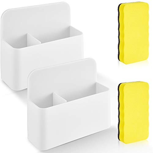 4 Pieces Magnetic Dry Erase Marker Holder and Magnetic Whiteboard Eraser Magnet Pencil Cup Storage Case for Whiteboard Refrigerator and Locker, School Office Home Supplies