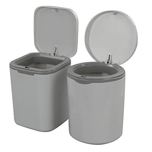 Dynko Juego de 2 Mini Botes de Basura, Papelera de Plástico con Tapa (Gris)