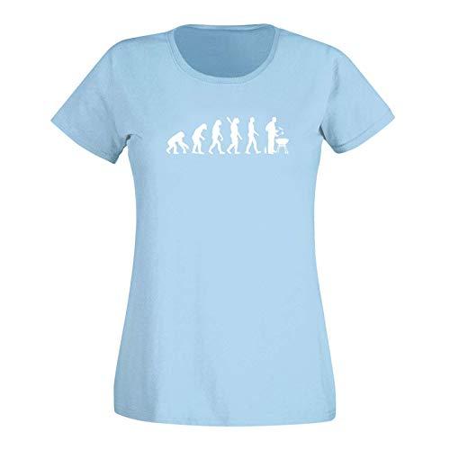 T-Shirt Evolution Grillmeisterin Grillen BBQ Koch Weber 15 Farben Damen XS - 3XL Smoker Kugelgrill Feuerschale Holzkohle Grillsaison, Größe: M, Farbe: hellblau/Sky Blue - Logo Weiss