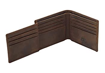 Stealth Mode Mens Trifold Leather Wallet - Mens RFID Leather Wallet with ID Window  Brown