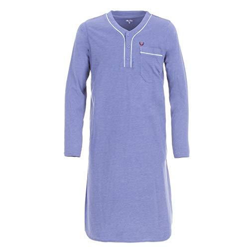 Henry Terre Herren Nachthemd Langarm Schlafanzug lang mit Brusttasche Schlafshirt, Farbe:Blau, Größe:XXL