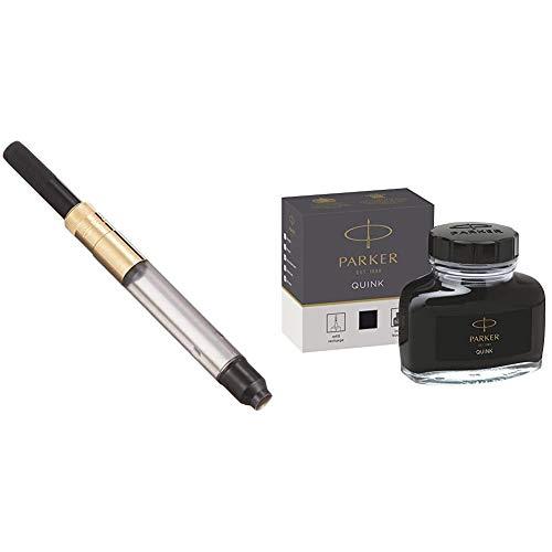 Parker Deluxe GP Converter - Recambio para bolígrafos y plumas + tintero de tinta líquida Quink para plumas estilográficas, 57ml, en caja, color negro ⭐