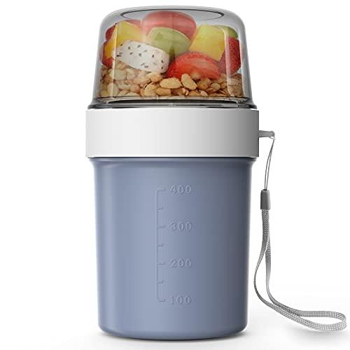 Abree Müslibecher 2 in 1 560ml+310ml Praktischer Müslibecher,Joghurtbecher für Arbeit Reise Picknick Frühstück,Lunchbox für Gefrierschränke, Mikrowelle und Geschirrspüler