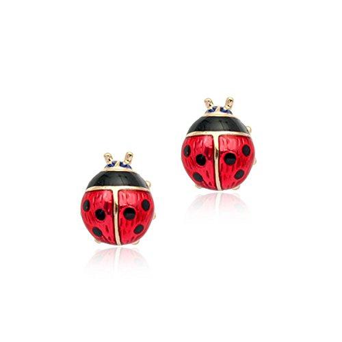 Orecchini rossi fortunati della coccinella oro 18k oro degli orecchini dello smalto degli orecchini di Beatles di Spotty