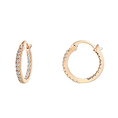 PAVOI 14K Gold Plated 925 Sterling Silver Post Cubic Zirconia Hoop Earrings   Small Rose Gold Hoops