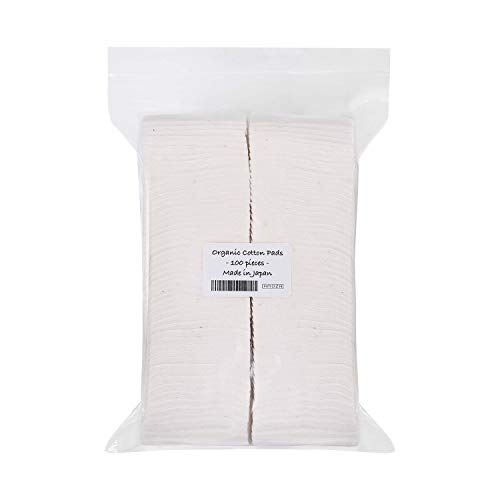 Japanese Organic Cotton Pads 100 pieces 100% Organic Unbleached [Made in Japan] (1 Pack)