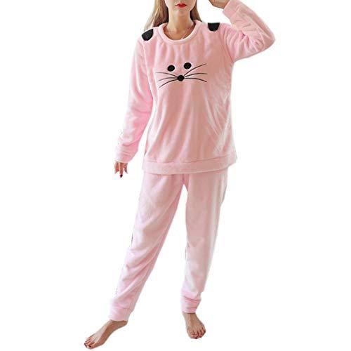 Cicilin Damen Schlafanzug Sets Korallenwolle Flanell Winter Warm weich Pyjama Nachtwäsche Dicke Süß Rosa Medium