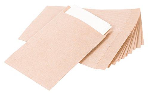 100 Braune Flachbeutel 6,3 x 9,3 cm (+1,4cm Lasche) - Samentüten zum Befüllen, Freudentränen Tüten, Mitgebsel, für kleine Gastgeschenke, Samentütchen