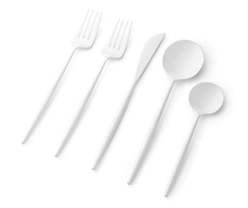 Juego de 40 cubiertos de plástico, tenedores desechables, cucharas, cuchillos, juego de utensilios de cocina para cena, ensalada, sopa, té, mango resistente, moderno,...