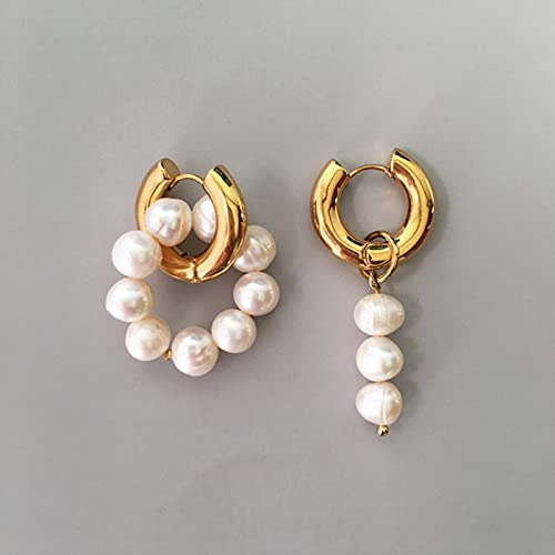 SONGK Pendientes Colgantes asimétricos de Perlas de Agua Dulce Naturales Pendientes Colgantes de círculo Doble Pendientes Colgantes franceses inusuales franceses