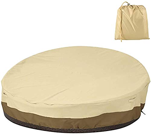 Lelesta Garden Rattan Day Bed Cover Waterproof Patio Daybed Cover Round Outdoor Furniture Cover Extra Large Oxford Fabric 228x83cm Beige&Coffee