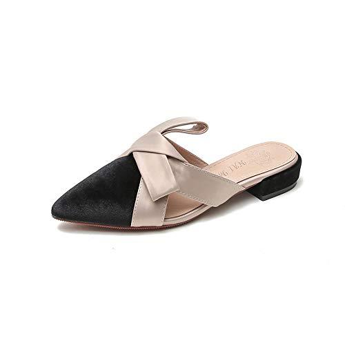 COQUI Slippers Hombre,Zapatillas Mujer Ropa Exterior Baotou Medio Arco Sandalias Planas-Negro_40