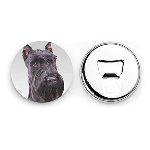 Cute Schnauzer Dog Round Bottle Openers/Fridge Magnets Stainless Steel Corkscrew Magnetic Sticker 2 Pcs