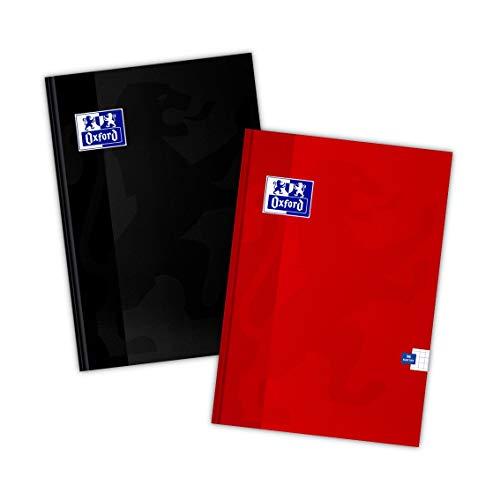Oxford Cuaderno A4, 96 hojas, cuadriculado, 2 unidades, mezcla de colores, 400151697, negro y rojo