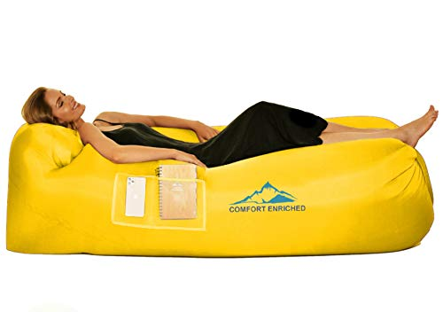 Comfort Inflatable Lounger Air Sofa Hammock - Air Lounger for Travel, Camping, Hiking – Portable, Waterproof and Anti-Air Leaking Pouch Couch with Pillow and Carrying Bag for Pool and Beach (Yellow)