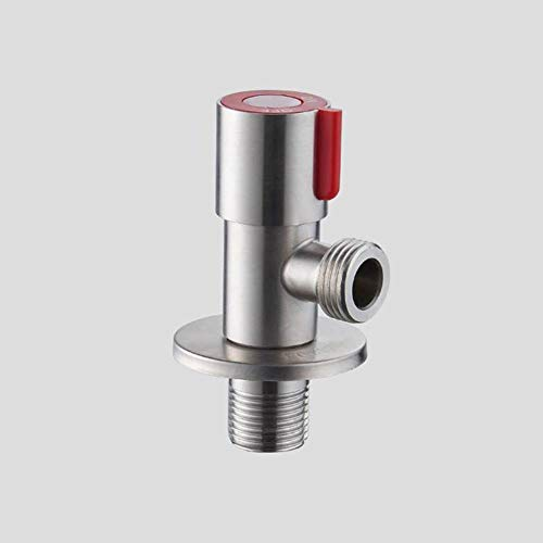 Válvula angular HEHUANG Válvula triangular de agua fría de acero inoxidable Válvula de llenado de rosca G1 / 2 Calentador de agua para lavamanos, rojo