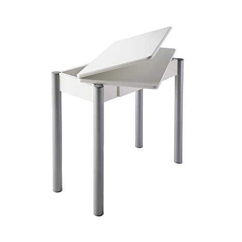 Mesa de Cocina - Modelo RIBETA - Color Blanco/Plata - Material MDF/Metal - Medidas 80 x 40/80 x 78 cm
