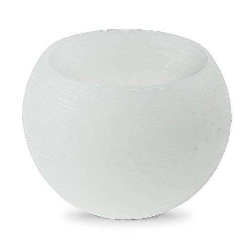 Wachs Windlicht Hohlkerze Ice Weiss Weiß Ø 12 cm Kugel Rund Paraffin Teelicht Neu