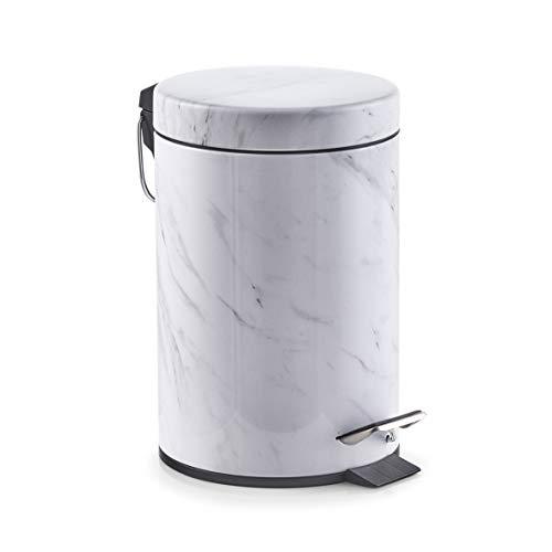 Zeller 18207 Treteimer Marmordekor, 3 Liter, Metall, ca. 16.8 x 16.8 x 26 cm