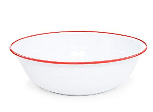 Enamelware Medium Basin, 8 quart, Vintage White/Red (Single)