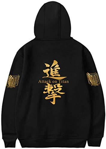 MINIDORA Attack on Titan Hoodie for Men Trendy Pullover Shingeki no Kyojin Golden Wing Printed Sweatshirt for Japanese Anime Fans XXS,Black 907 A