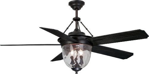 Craftmade KM52ABZ5LKRCI Knightsbridge 52' Outdoor Ceiling Fan with 120 Watts Light Kit and Remote & Wall Control, 5 Blades, Aged Bronze