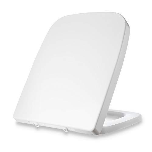 Dombach® Lamera Premium Toilettendeckel weiss eckig passend für Keramag Renova Nr. 1 Plan antibakteriell mit Absenkautomatik Softclose WC Sitz abnehmbar Klodeckel quadratisch rechteckig