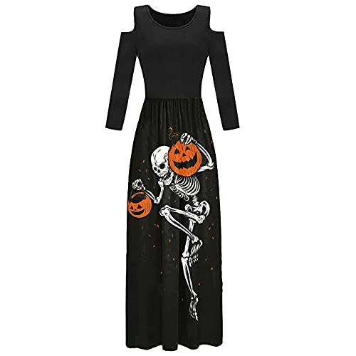Briskorry Vestido largo de Halloween para mujer, con hombros descubiertos, de manga larga, con estampado de crneo, vintage, de noche, de fiesta, de ocio, de bruja, Negro , S