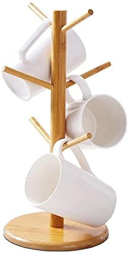PENGQIMM Soporte para tazas de bambú con 6 ganchos, soporte para vasos, soporte para tazas de café, soporte para mostrador, soporte para tazas de café, organizador de joyas, árbol, árbol