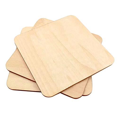 Amosfun 100 pezzi quadrati di legno pezzi di legno non finiti legno fette di legno dischi di legno lastre di legno ritagli di legno forme di legno per artigianato centrotavola fai-da-te ornamenti 20mm