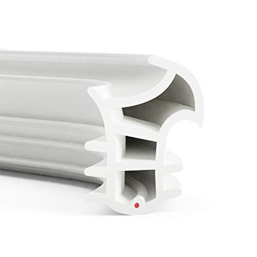 DIWARO.® Stahlzargen-Dichtung SZ309 | weiß | 5 lfm für Haus- und Innentüren. Zum Schallschutz und abdichten der Tür. Bestehend aus TPE (Thermoplastischen Elastomer)