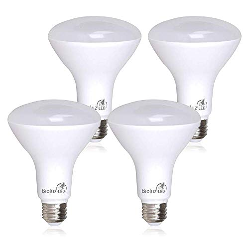 4 Pack BR30 LED Flood Light Bulbs Indoor Outdoor by Bioluz LED Instant ON DIMMABLE Warm White 2700K Replaces 65-95 Watt Using 9.5 Watts 90 CRI UL Listed 2016 JA8 High Efficacy Lighting