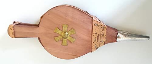 Soufflet de cheminée - Art. 6496 Cheminée - Soufflet en bois avec housse en cuir synthétique - Soufflet de cheminée