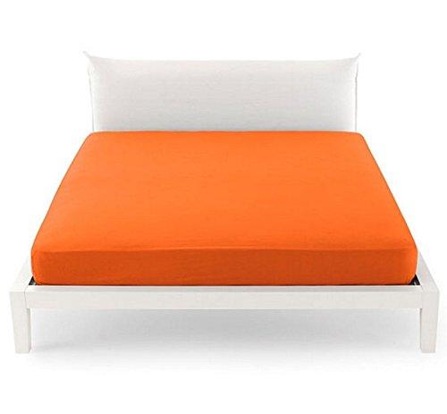 Lenzuolo Piano sopra Una Piazza E Mezza 1,5 CM 180 x 290 Pantone by BASSETTI 15-1157 Flame Orange Tinta Unita Arancione 100% Puro Cotone