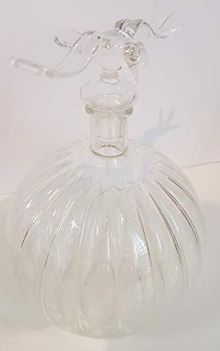 Karaf, ronde glazen fles antieke flesje sierflacon in geribbelde look met glazen vogel als sluiting buitengewoon decoratieve flacon mondgeblazen elegant design hoogte ca. 16 cm inhoud 0,45 liter Oberstdorfer Glashütte