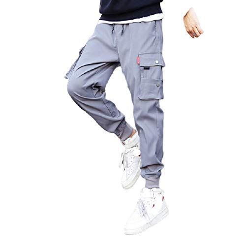 Pantalones para Correr para Hombre Pantalones Harem para Correr Casuales Pantalones elásticos de Color Liso con múltiples Bolsillos Pantalones Ajustados 4XL
