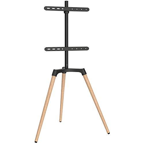 EasyLife - Design STAFFELEI Tripod TV-Stativ - Halterung bis 65'' Zoll & 35 kg Fernseher/Monitor - 140° Schwenkbar - Höhenverstellbar + Kabelmanagement - VESA bis 400x400 (Schwarz/Buche hell)