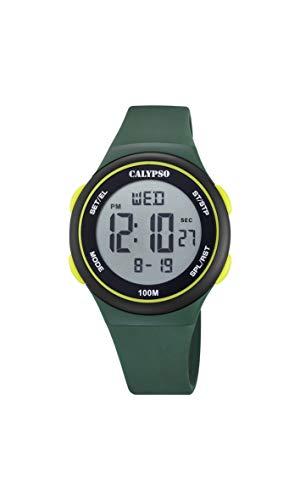 CALYPSO Reloj Modelo K5804/1 de la colección Color Splash, Caja de 39 mm Digital con Correa de plástico Verde para niño