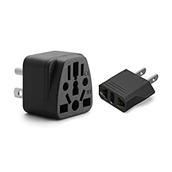 US Plug Adapter Unidapt European to USA Plug Adapter 2-Pack Europe to American Outlet Plug Adapter EU to US Adapters EU/UK/AU/IN/CN/JP/Asia/Italy to USA/Canada Travel Power Plug Adapter  Type A & B