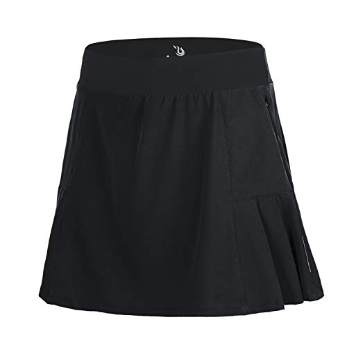 beroy Women Quick Dry and Breathable Cycling Skirt Shorts,Bike Skorts Pantskirt with 3D Padded(XL,Black)