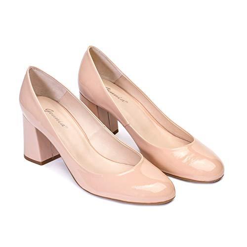 Viva - Salones Zapatos de Vestir para Mujer en Piel con Punta Redonda y Tacon Ancho de 7 cm - Forro de Piel - Moda Tacones Stilettos Elegantes - Piel Charol Nude Maquillaje - Rosa 38 EU