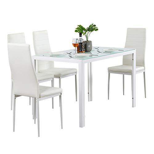 Eettafel LKU 110cm eettafel set gehard glazen eettafel met 4 stuks stoelen transparant & amp;Zwart, 76402543 5st