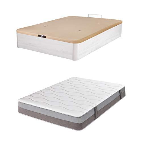 DHOME Pack Canape abatible tapizado 3D Madera + Colchón viscografeno, Reversible Conjunto (90x190 Ártico, 30mm + Colchón)